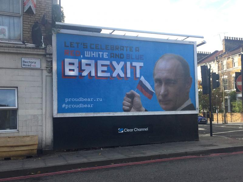 Billboards appear across London celebrating 'Brexit collaboration' between Russia and UK