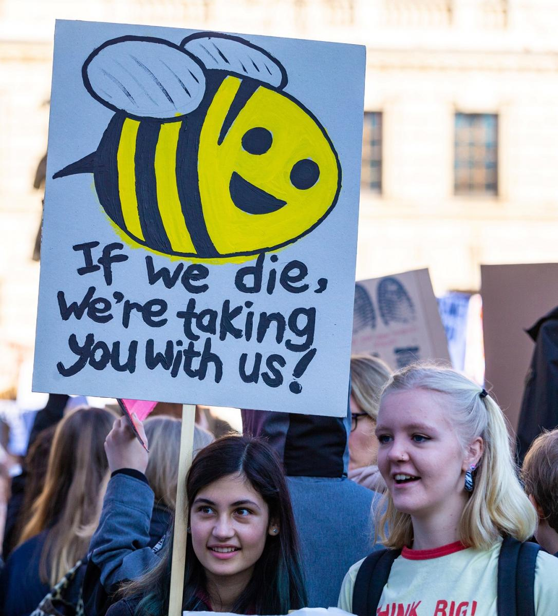Major student Youth Strike 4 Climate protest outside Leeds Town Hall