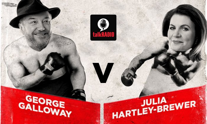 LISTEN! George Galloway v Julia Hartley-Brewer - let battle commence!