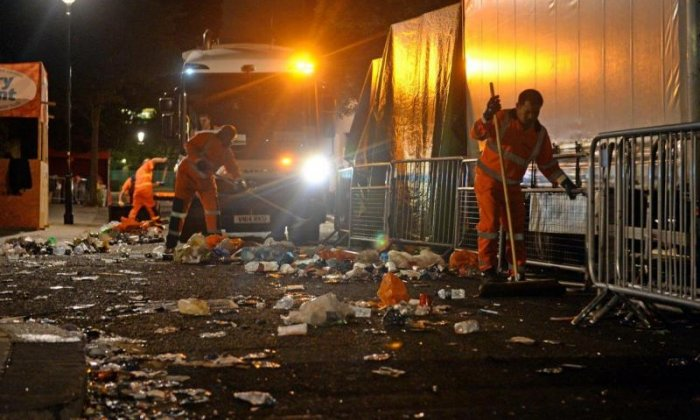 More than 30 refuse trucks and mechanical sweepers were used