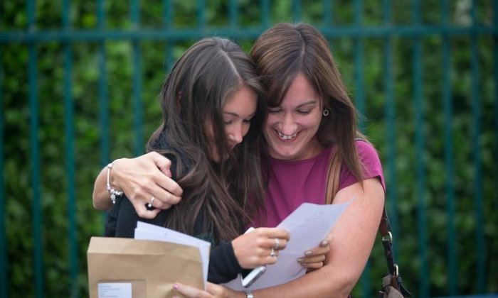 Students open their A level results live on air