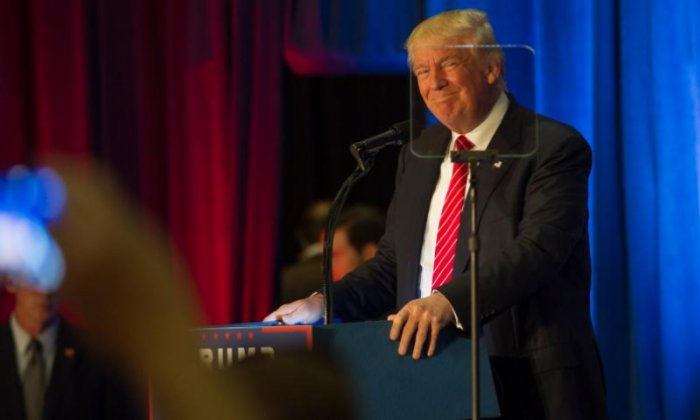 Donald Trump seen speaking during his rally in Youngstown