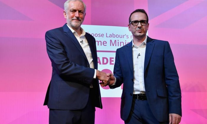 Labour leadership candidates Jeremy Corbyn and Owen Smith are heckled during a live TV debate