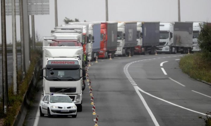 Lorries are held back from the channel tunnel