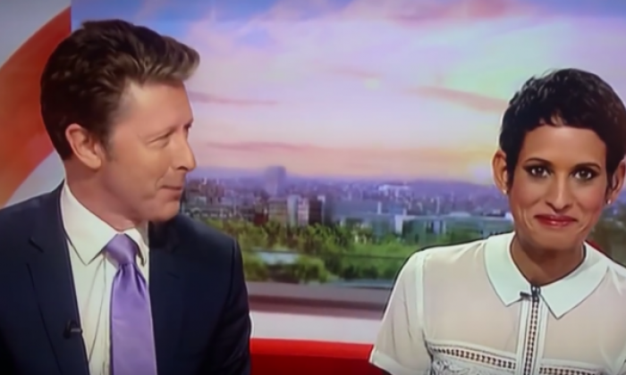 The BBC presenters were caught out by a footage mix-up