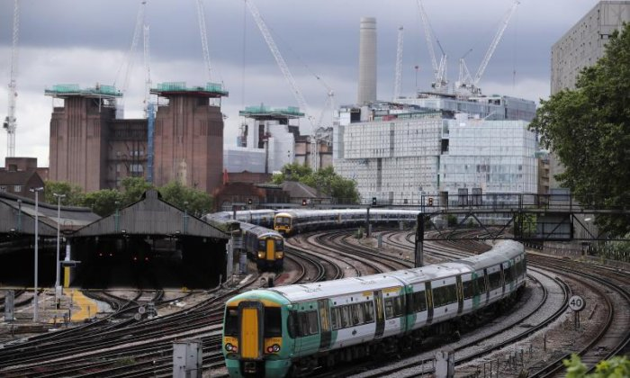 A Southern train is seen passing through Battersea