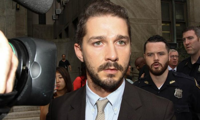 Shia LaBeouf returns to anti-Trump protest after arrest in NY