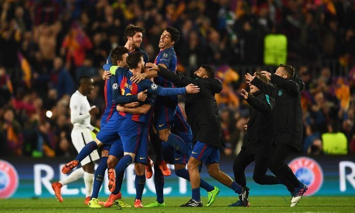 Barca snatched an amazing victory with three last-gasp goals