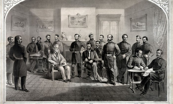 The surrender of Confederate forces in the American Civil War, 1865