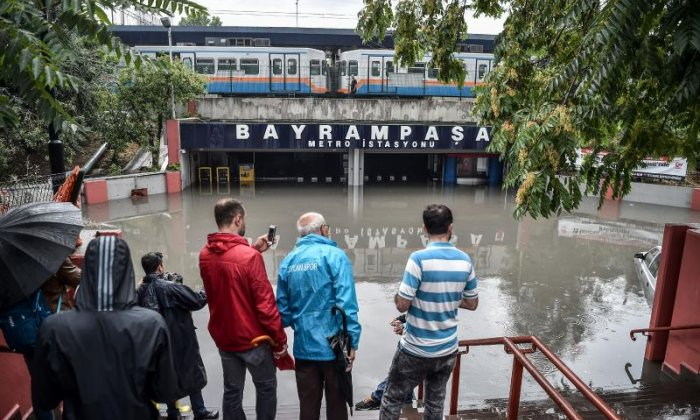 Bayrampasa Metro Station has been flooded