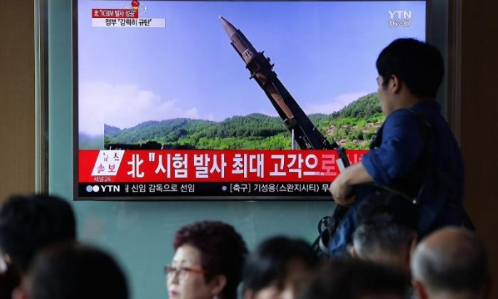 Footage of North Korea's announcement of the missile launch is shown in South Korea