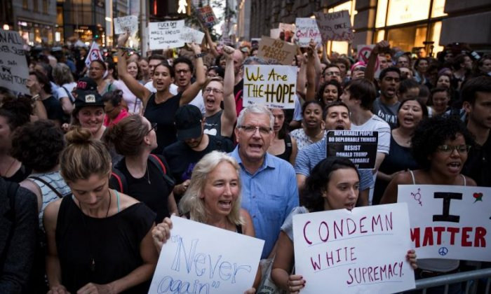 Charlottesville: Thousands stage protest outside Trump Tower