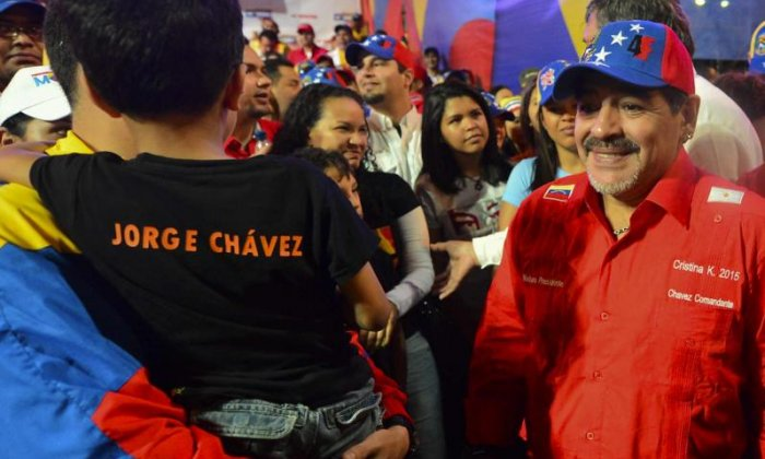 Maradona, seen campaigning for Maduro in 2013, has struggled with drink and drug problems