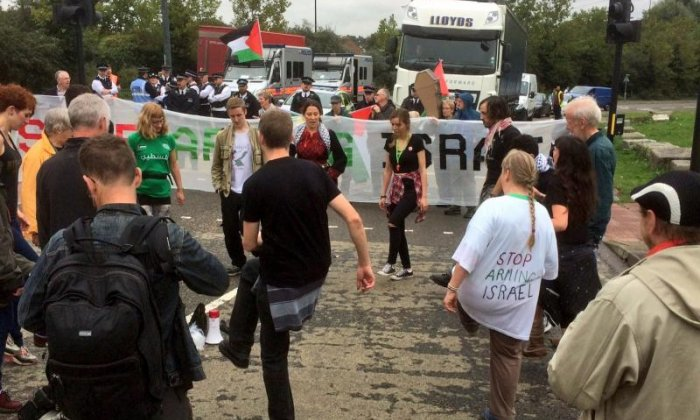 Activists take part in dabke dancing in the blockade (Credit: London Palestine Action)