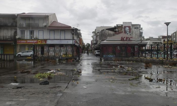 A market square is left empty due to Hurricane Irma seen in Pointe-a-Pitre on Guadeloupe island