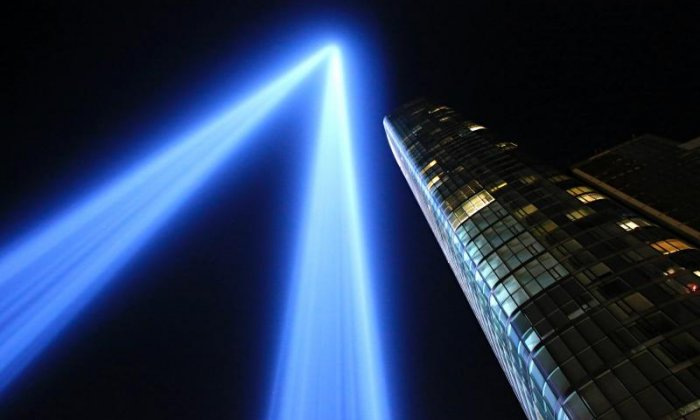 The Tribute in Light illuminates lower Manhattan