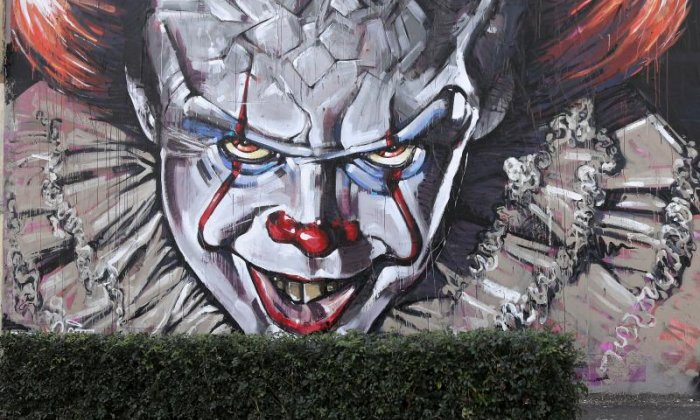 People think that Pennywise (seen here depicted on a mural in Australia) is bad news for the clown industry. We don't see it like that
