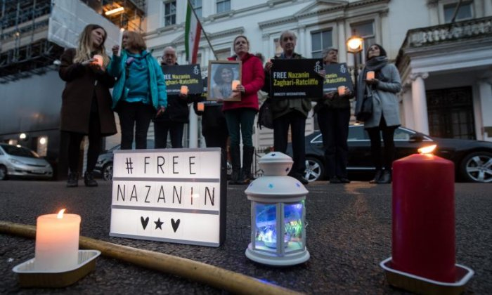 Protestors call for release of two British citizens held in Iran