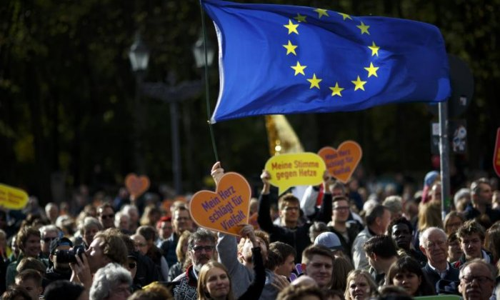 The European Union flag was flown at the protest