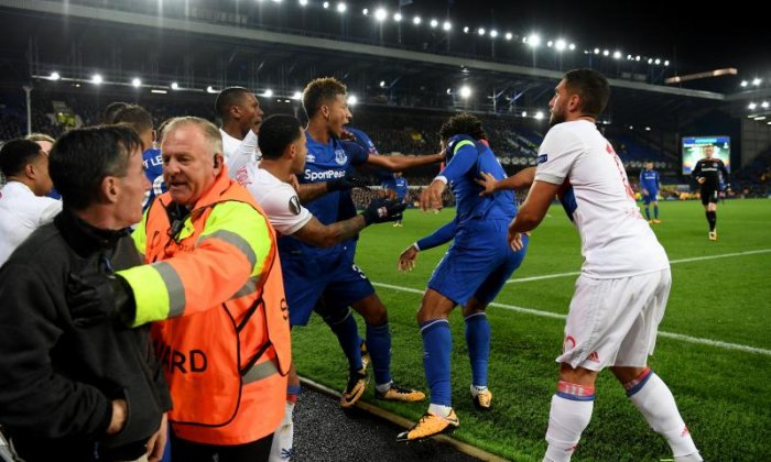 The incident took place at the end which houses Everton's most vocal supporters