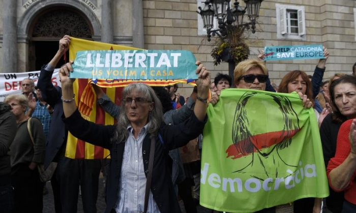 Protestors shouted slogans outside the Generalitat Palace