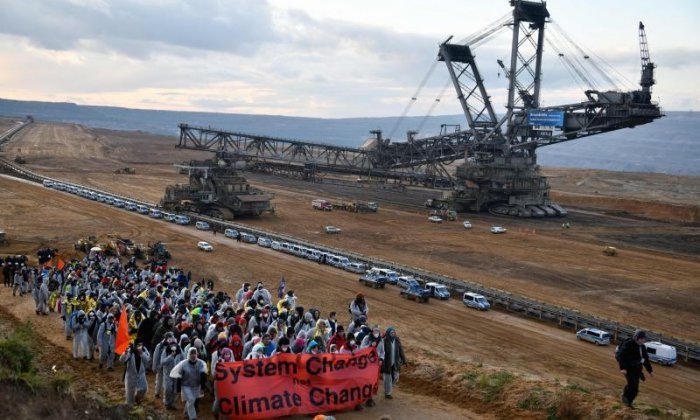 Many of the activists marched through the coal mine