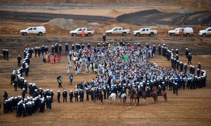 Activists protested at a coal mine against fossil fuels