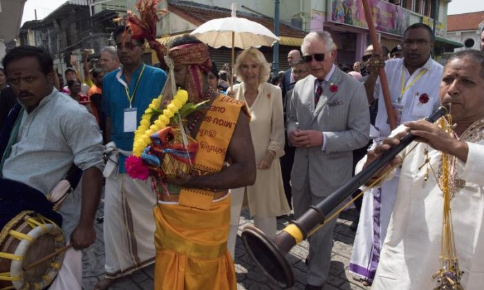 Charles and Camilla visiting the Sri Mahamariamman Temple