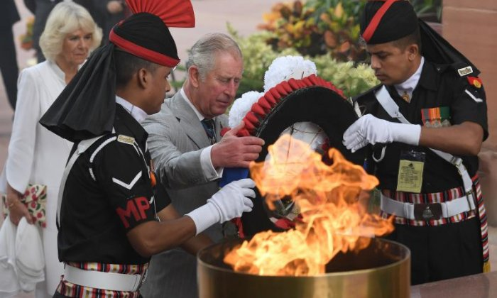 Charles and Camilla paid their respects to the fallen in India