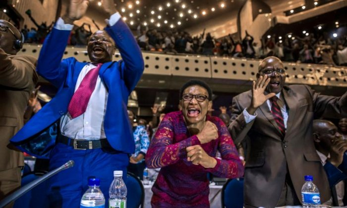 Zimbabwe's Members of Parliament also celebrated when hearing the news