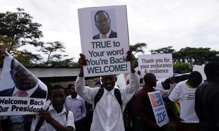 Some thanked former Zimbabwean vice-president Emmerson Mnangagwa for returning