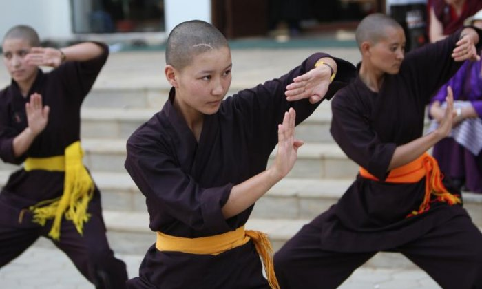 Buddhist nuns show off martial arts skills used to help protect women in India