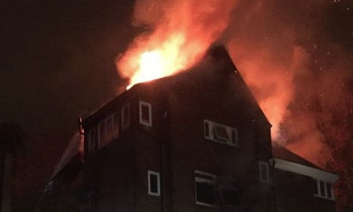 Firefighters battle blaze at block of flats in Hampstead, North London