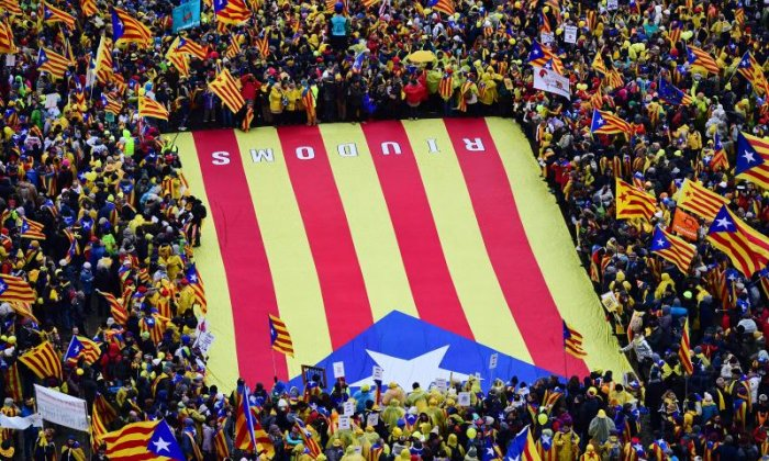A giant flag was used in the demonstration