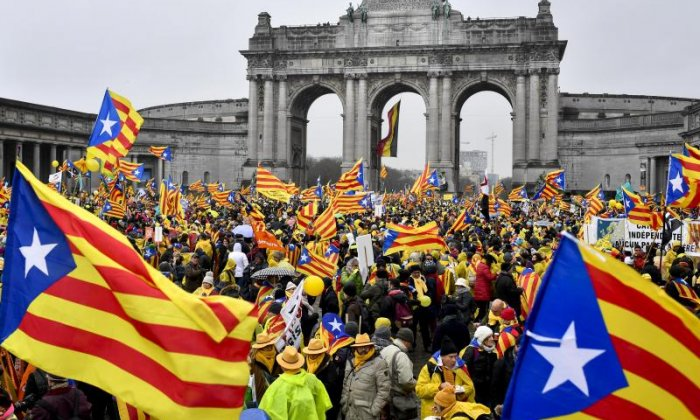 Thousands of people took part in a pro-independence march for Catalonia