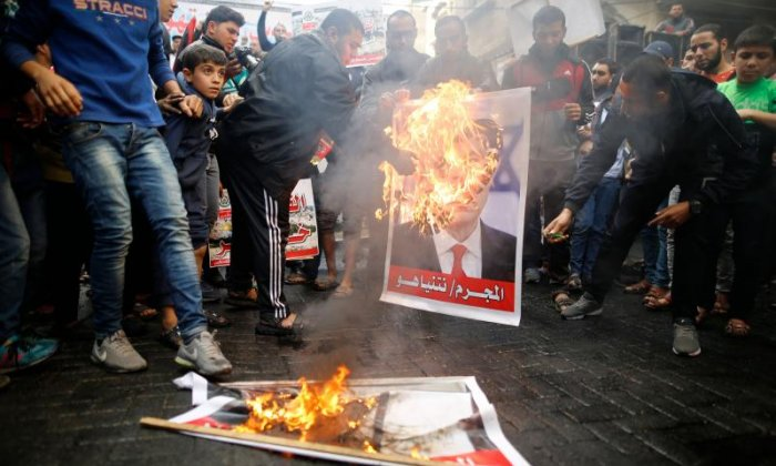 Some images of Donald Trump were burned