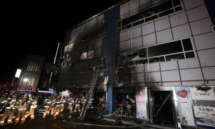 S. Korean president visits site of building fire claiming 29 lives