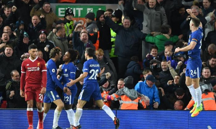Chelsea fans are seen celebrating their equaliser in the 1-1 draw