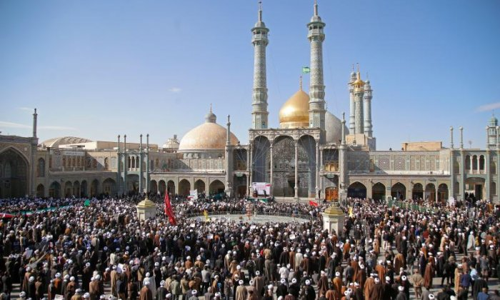 Some gathered at the Masumeh Shrine in Qom