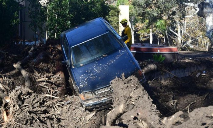 Cars have also been damaged by the mudslides