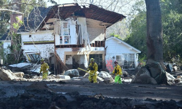 A demolished house is seen in Montecito
