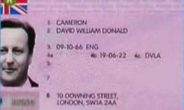 This is an image of the fake ID produced using David Cameron's image