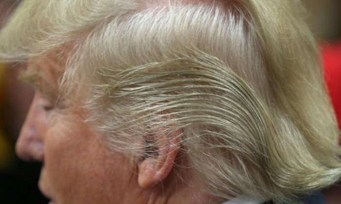 Gust of wind reveals Donald Trump's curious hair problems