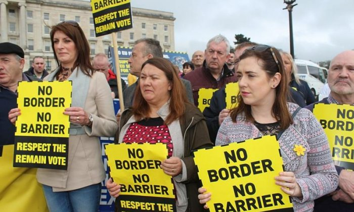 The border issue has proved hugely divisive in Ireland, as demonstrated by this Sinn Fein protest