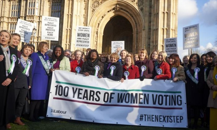 MPs such as Diane Abbott have been leading celebrations of the female suffrage anniversary today