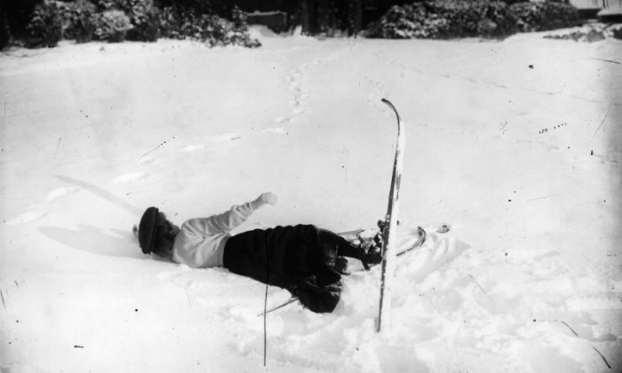 Here the woman has fallen over in the snow