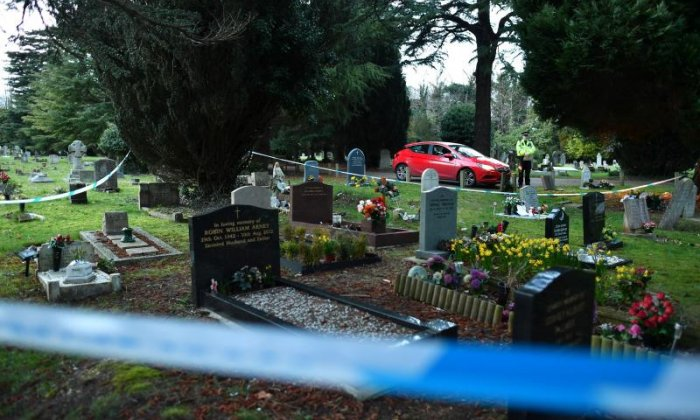 The London Road cemetery was cordoned off by police investigating the nerve agent poisoning of spy Sergei Skripal and his daughter Yulia