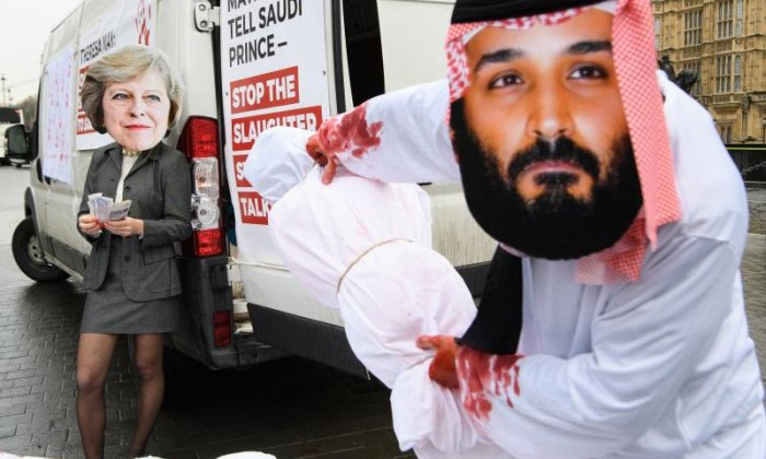 A small number of protesters raised their voices against the Saudi Prince's visit yesterday