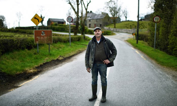 Farmer Joe Nesbitt on the border separating the north and south of Ireland