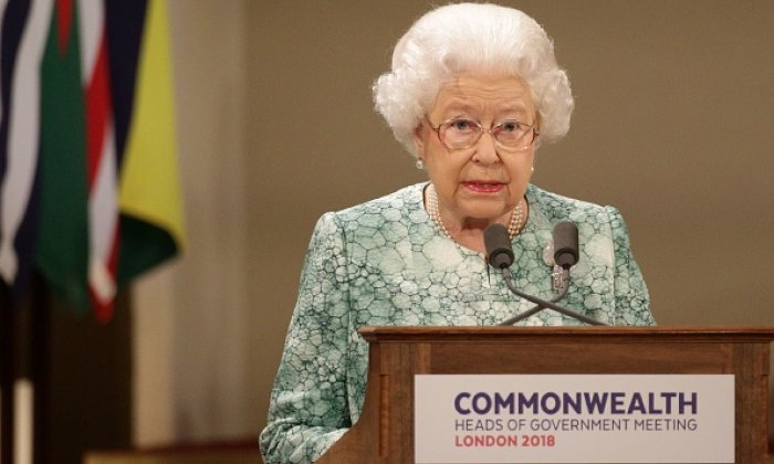 The Queen speaks at the formal opening of the Commonwealth Heads of Government Meeting at Buckingham Palace
